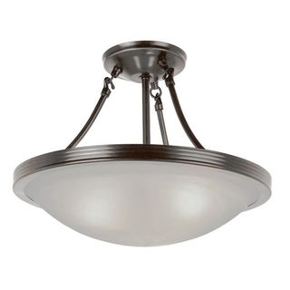 Cambridge 3-Light Brushed Nickel 15 in. Semi Flush Mount with Marbelized Glass