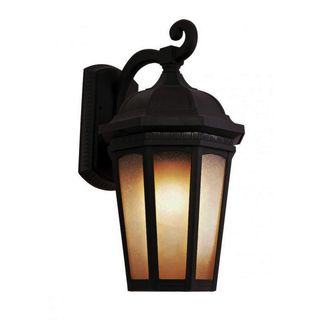 Cambridge Black Finish Outdoor Wall Sconce With a Tea Stain Shade