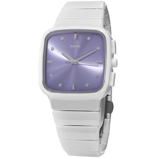Rado Women's 'R5.5' Purple Dial White Ceramic Bracelet Swiss Quartz Watch