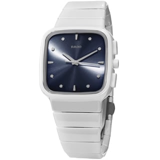 Rado Women's R28382322 'R5.5' Blue Dial White Ceramic Bracelet Swiss Quartz Watch