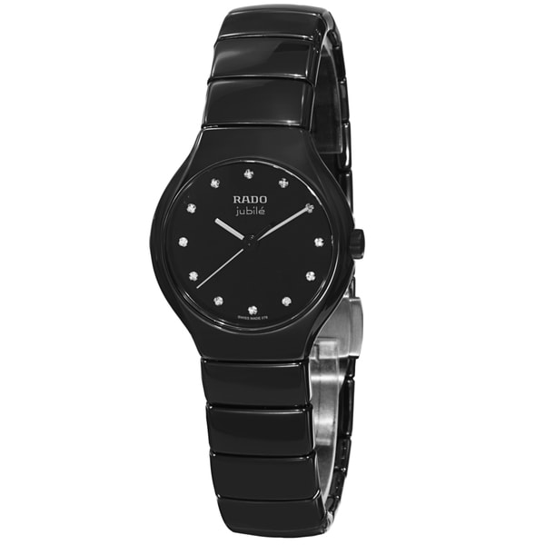 0de88acc7e2 Shop Rado Women s  True Jubile  Black Diamond Dial Black Ceramic ...