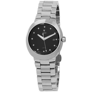 Rado Women's 'D-Star' Black Diamond Dial Stainless Steel Bracelet Automatic Watch