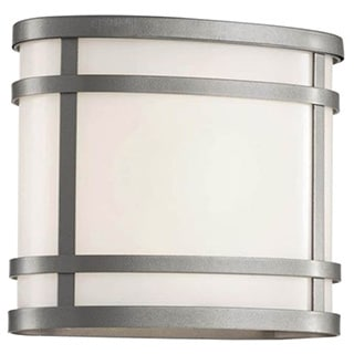 Cambridge Silver Finish Outdoor Wall Sconce With a White Shade