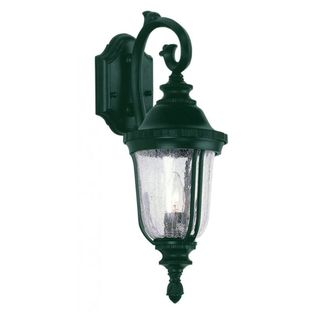 Cambridge Verde Green Finish Outdoor Wall Sconce With a Crackle Shade