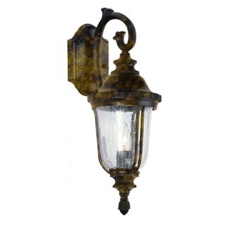 Cambridge Black Gold Finish Outdoor Wall Sconce With a Crackle Shade