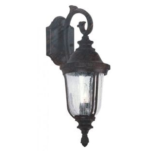 Cambridge Black Copper Finish Outdoor Wall Sconce With a Crackle Shade
