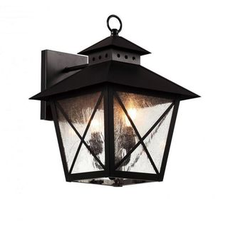 Cambridge Black Finish Outdoor Wall Sconce With a Seeded Shade