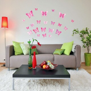 Pink Butterfly Set Vinyl Wall Decals
