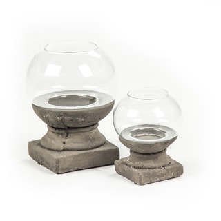 Round Clay and Glass Candle Holder