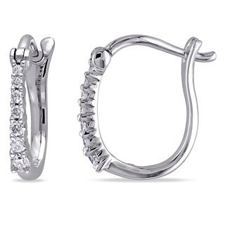 Miadora 14k White Gold 1/6ct TDW Diamond Hoop Earrings