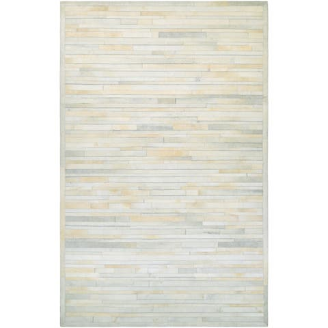 Hand-Crafted Couristan Chalet Plank Ivory Cowhide Leather Area Rug - 8' X 11'