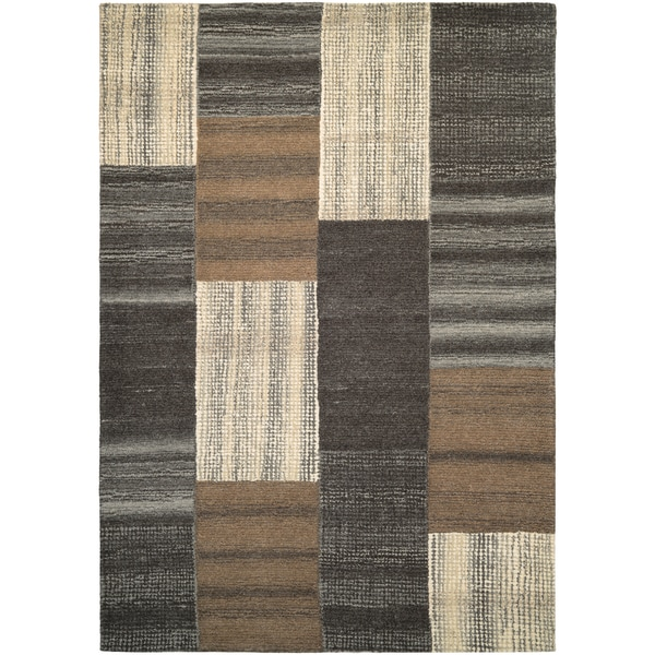 Hand-Crafted Barlow Quilted Stripe Brown Area Rug - 8' x 11'