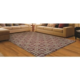 Couristan Retrograde Galaxy/ Burgundy- ivory Rug (8' x 11')