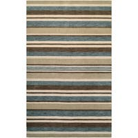 Mystique Bliss Ivory/ Teal/ Brown Rug - 7'9 x 9'9