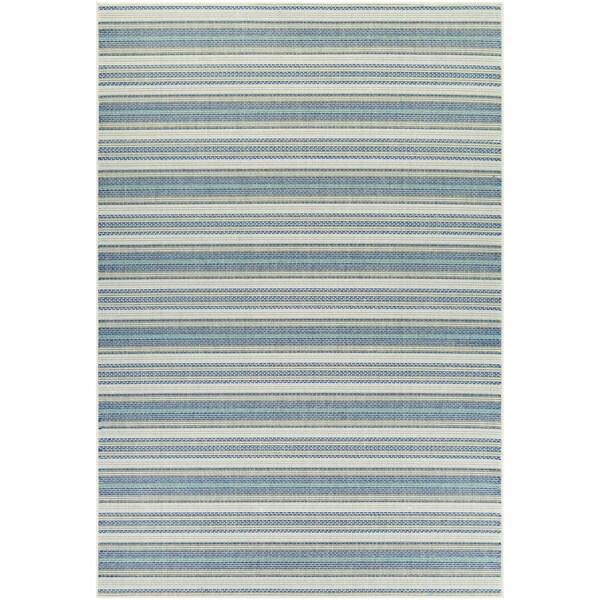 Samantha Sand Stripe/ Ivory-Blueish Green Indoor/Outdoor Rug - 8'6 x 13'