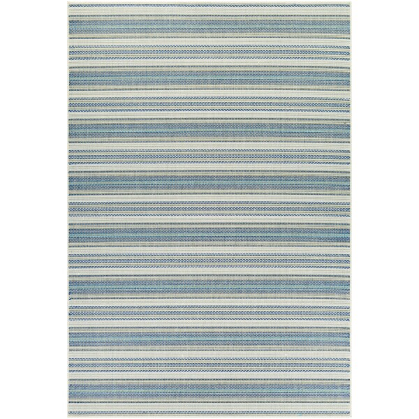 Samantha Sand Stripe/ Ivory-Blueish Green Indoor/Outdoor Rug - 7'6 x 10'9