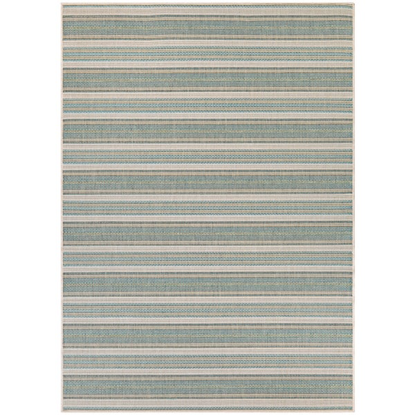 Monaco Marbella Blue Mist-Ivory Indoor/Outdoor Area Rug - 7'6 x 10'9