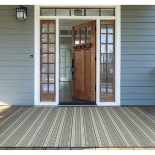 """Samantha Sand Stripe Blue Indoor/Outdoor Area Rug - 7'6"""" x 10'9"""""""
