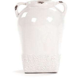 Victorian Tall White Ceramic Decorative Jar