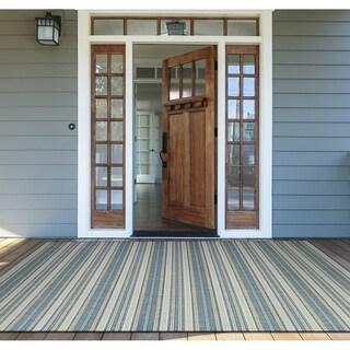 """Samantha Sand Stripe Ivory-Blueish Green Indoor/Outdoor Area Rug - 5'3"""" x 7'6"""""""