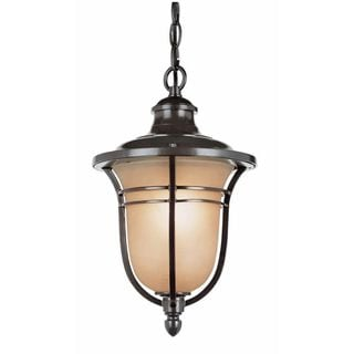 Cambridge 3-Light Rubbed Oil Bronze 18.25 in. Outdoor Hanging Lantern with Amber Glass