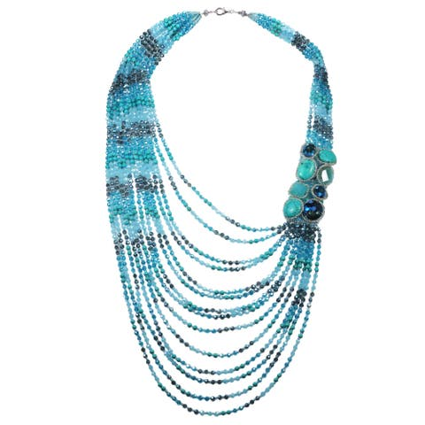 Handmade Breathtaking Crystal and Stone Cascade Statement Necklace (Thailand)