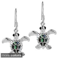 Handmade Mother of Earth Turtles Stone .925 Silver Dangle Earrings (Thailand)
