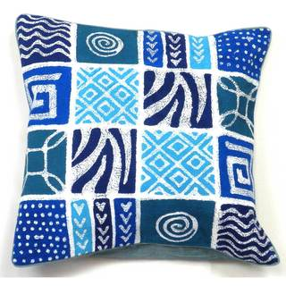 Handmade Batik Cushion Cover - Blue Geo Patches (Zimbabwe)