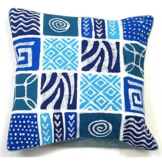 Handmade Batik Cushion Cover - Blue Geo Patches (Zimbabwe)