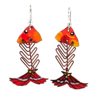 Handmade Recycled Tin and Wire Fish Bone Earrings - Takataka Collection (Kenya)