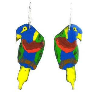 Handmade Takataka Collection Painted Recycled Tin Parrot Earrings (Kenya)