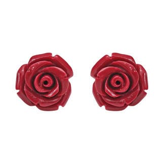 Pretty Blooming Carved Rose .925 Silver Earrings (Thailand)
