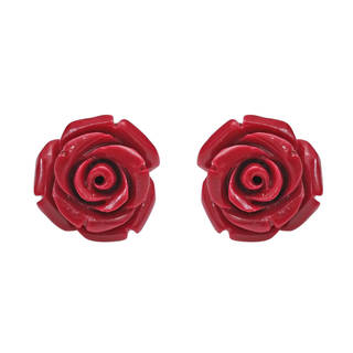 Handmade Pretty Blooming Carved Rose .925 Silver Earrings (Thailand)