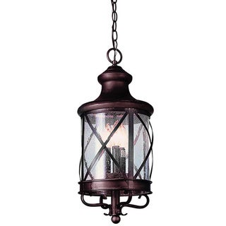 Cambridge 3-Light Rubbed Oil Bronze 20.5 in. Outdoor Hanging Lantern with Seeded Glass