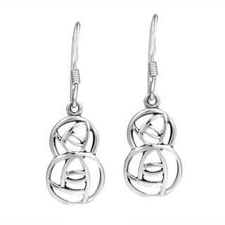 Handmade Round Modern Hidden Double Rose Sterlng Silver Earrings (Thailand)