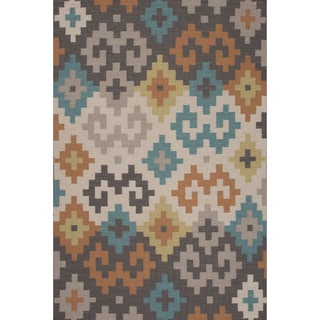 Flatweave Tribal Pattern Grey/ Ivory Area Rug (5' x 8')