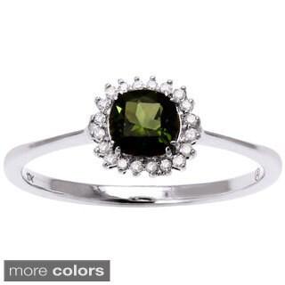 Beverly Hills Charm 10k Gold Green Tourmaline 1/10ct TDW Diamond Halo Ring (H-I, I2-I3)