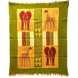 Handpainted African Quad Batik in Green/Yellow/Red (Zimbabwe)