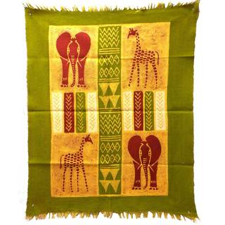 Handmade African Quad Batik in Green/Yellow/Red (Zimbabwe)