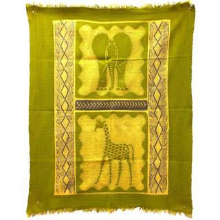 Handpainted Elephant and Giraffe Batik in Lime/Periwinkle (Zimbabwe)