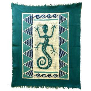 Handmade Gecko Batik in Three Blues (Zimbabwe)