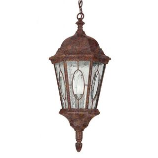 Cambridge 1-Light Rust 21 in. Outdoor Hanging Lantern with Water Glass