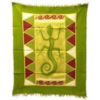 Handmade Gecko Batik in Green/Yellow/Red (Zimbabwe)
