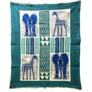 Handpainted African Quad Batik in Three Blues (Zimbabwe)