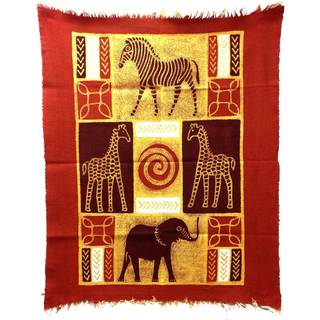 Handpainted Four Animals Batik in Red/Maroon , Handmade in Zimbabwe