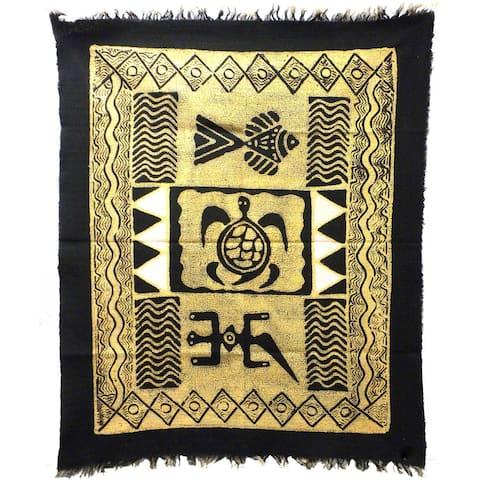 Handmade Three Creatures Batik in Black/White (Zimbabwe)