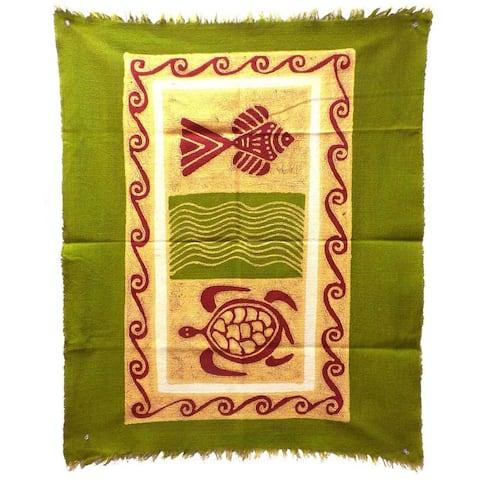 Handmade Sea Life Batik in Green/Yellow/Red (Zimbabwe)