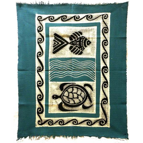 Handpainted Sea Life Batik in Blue/Black (Zimbabwe)