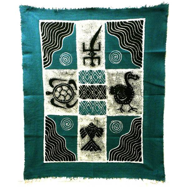 Handmade Four Creatures Batik in Blue/Black (Zimbabwe)