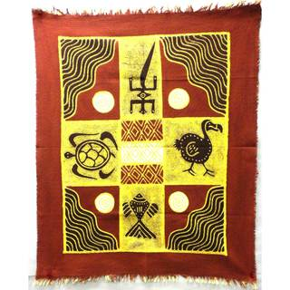Handpainted Four Creatures Batik in Red/Maroon (Zimbabwe)